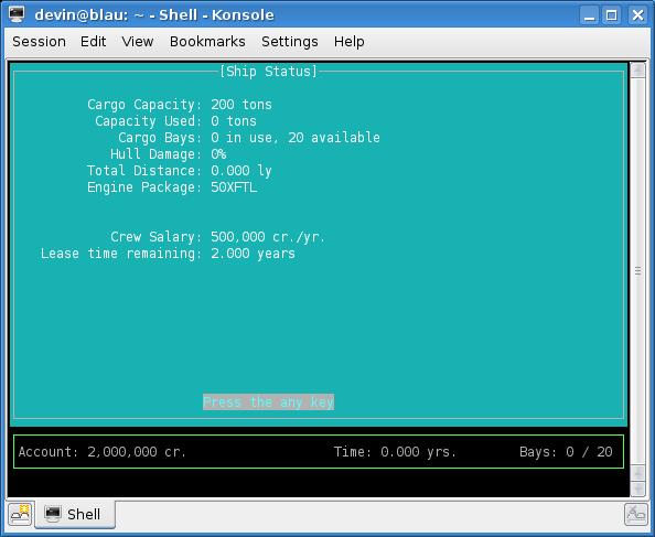 Ship Status Screen - Linux version (KDE)