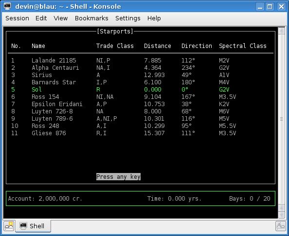 Starport Map - Linux version (KDE)