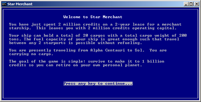 The opening screen for Star Merchant